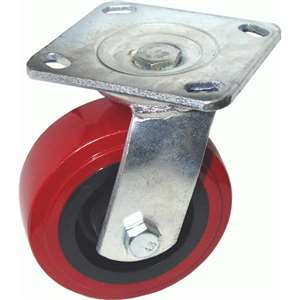 "6""H. Plate Style 4""Wx4-1/2""L, Heavy Duty Industrial PU-Caster, 600 lbs Capacity For Heavy Equipment KP6011"