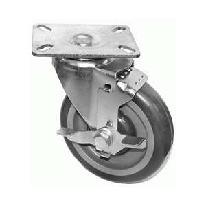 "6""H. Plate Style PU Caster w/Side Brake, 89mm x 89mm For Pitco Fryers, Frymaster & Other Deep Fryers KP6118"