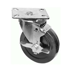 "6""H. Plate Style Black Rubber Caster w/Brake For Most Deep Fryers & Ranges KP6132"