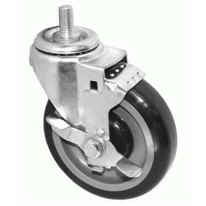 "6""H. Threaded Stem Style 3/4""x5/8""-11UNC. Black Rubber Caster w/Brake For Most Refrigerators KT6132"