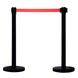 Apex ARN-2PC-BLK-RED VIP Series Elite Arena Tuff Tex Retractable Belt Stanchions