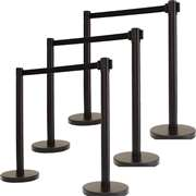 Apex ARN-6PC-BLK-BLK VIP Series Elite Arena Tuff Tex Retractable Belt Stanchions