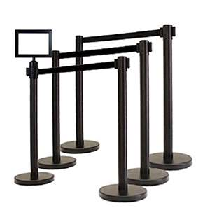 Apex ECO-6PC-BLK-BLK-FRAME VIP Series Economy Tuff Tex Retractable Belt Stanchions
