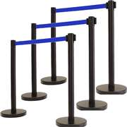 Apex ECO-6PC-BLK-BLU VIP Series Economy Tuff Tex Retractable Belt Stanchions