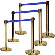 Apex ECO-6PC-GLD-BLU VIP Series Economy Retractable Belt Stanchions