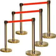 Apex ECO-6PC-GLD-RED VIP Series Economy Retractable Belt Stanchions