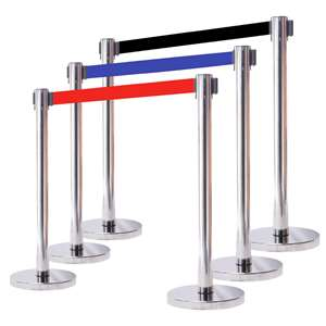 Apex HD-2PC-MIR-BLK VIP Series Heavy Duty Retractable Belt Stanchions