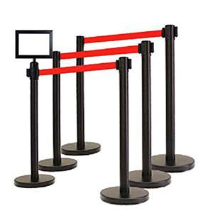 Apex HD-6PC-BLK-RED-FRAME VIP Series Heavy Duty Tuff Tex Retractable Belt Stanchions