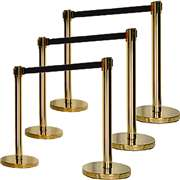 Apex HD-6PC-GLD-BLK VIP Series Heavy Duty Retractable Belt Stanchions