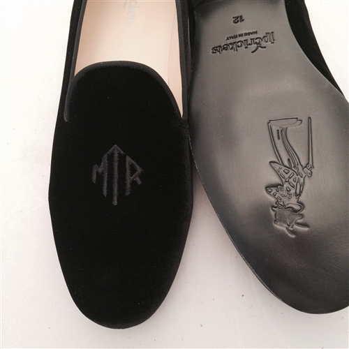 Women's Custom Monogram Velvet Mule