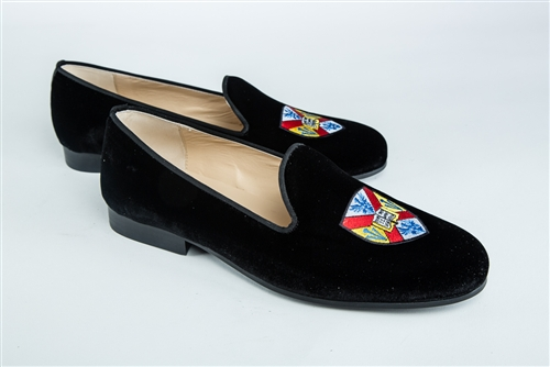 Men's Hampden Sydney Coat of Arms Black Velvet Shoe