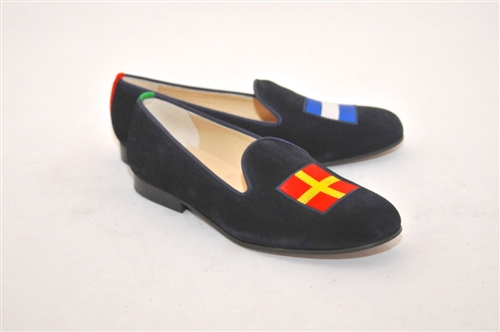"Men's Signal Flag ""Romeo and Juliet"" Blue Linen Shoe"