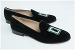 Women's DARTMOUTH Green and White Logo Black Suede Loafer