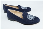 "Women's GEORGETOWN Blue Linen Loafer with ""Crest"""