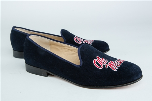 "Women's University of Mississippi Blue Suede Loafer ""Ole Miss"""