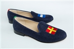 "Women's Signal Flag Slipper ""Romeo and Juliet"" Blue Suede"