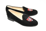 Women's Wesleyan University Crest Black Suede Loafer