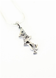 Sterling Silver Staggered Lavaliere with Lab-Created Diamonds