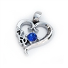 Sterling Silver Heart Pendant with Swarovski Sapphire Crystal