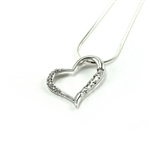Sterling Silver Heart Pendant with Lab-Created Diamonds
