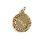 Gold Filigree Charm with Engraved Letters