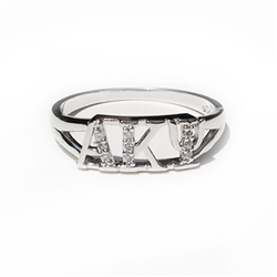Ladies Sterling Silver Ring with Lab-Created Diamonds