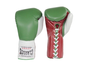 Red, White and Green Leather Boxing Gloves