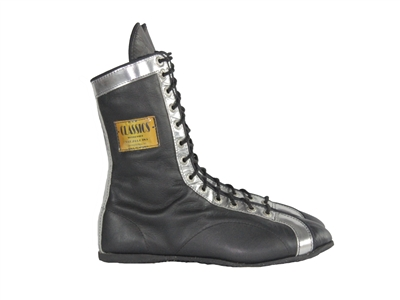 One-Color Leather Boxing Shoes w/ Metalico Trim