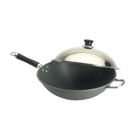 "Fire Magic Wok 15"" Hard Anodized with Stainless Steel Cover"
