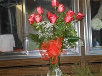 Pink with Red Long Stem Roses Dozen