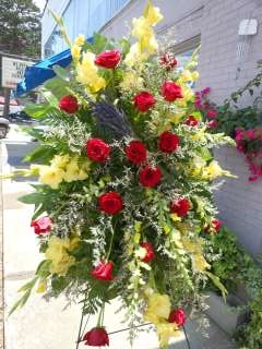Long Stem Red Rose and Yellow Glad Easel Spray