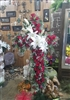 Cross Long Stem Premium Red Rose w/ Casa Blanca Lilly's Easel Spray