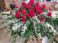Casket Spray Long Stem Red Roses White Delphinium (seasonal)