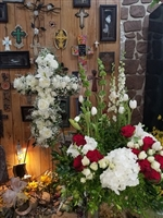 Combo Memorial Garden Wreath and Cross Easel
