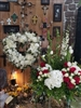 Combo Memorial Garden Wreath and White Open Heart Easel