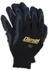 Diesel Thick Black Latex on Nylon Coated Gloves