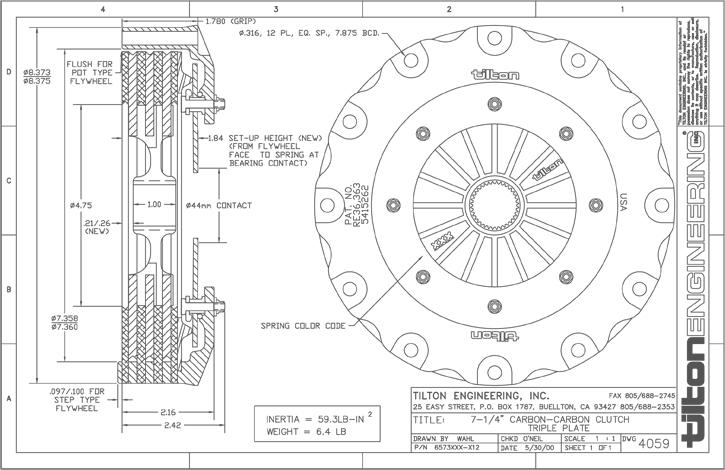 Evoms Tilton Carbon Triple Disk Clutch Kit