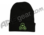 HK Army Skull Beanie - Black/Green Stitch