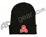 HK Army Skull Beanie - Black/Red Stitch