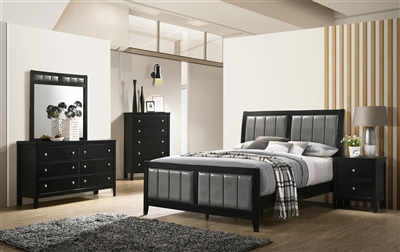 Black Finished Bed With Gray Leatherette Upholstered Headboard