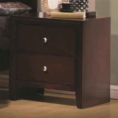 Rich Merlot Finished 2 Drawer Nightstand with Brushed Nickel Hardware