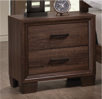 Medium Brown Finished Transitional Style 2 Drawer Nightstand