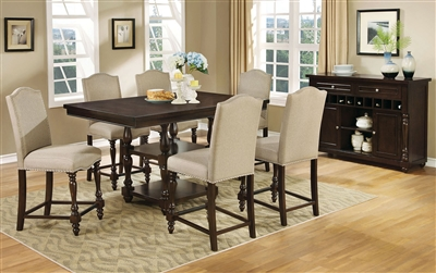 Transitional style dark cherry finish 5 piece Counter Height dining set