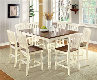 Farmhouse Style 7 Piece Vintage White Finished Dining Set