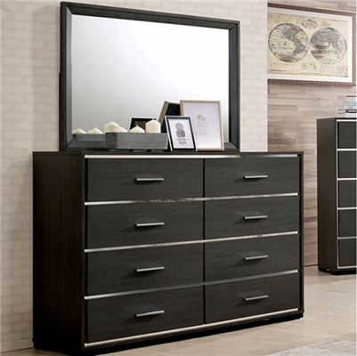 Camryn Collection Modern Style Warm Gray/Chrome Finish 8 Drawer Dresser