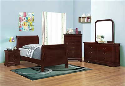 Louis Philippe cherry finish 4 piece twin bedroom set
