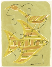 "Victor Brauner ""Traces interstices"" original lithograph, 1963"
