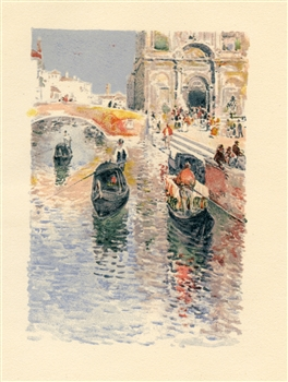 "Childe Hassam chromolithograph ""Gondoliers"""