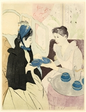 "Mary Cassatt etching and aquatint ""The Afternoon Tea"""