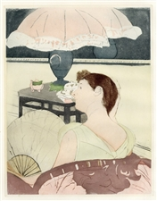 "Mary Cassatt etching and aquatint ""The Lamp"""